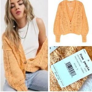 Free People Cable knit cardigan sweater